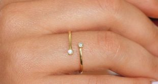 14K Solid Gold Ring - Diamond Open Ring - Dainty Diamond Ring - GR0247