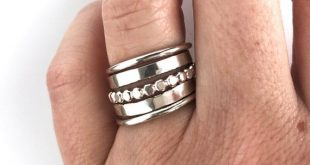 5 piece sterling silver stacking ring set, 2 hammered bands, 2 round bands, 1 beaded band, statement jewelry, simple silver rings for women