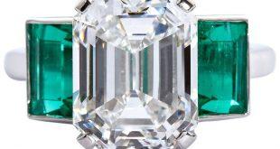 6.36 Carat Emerald Cut Diamond Colombian Emerald Platinum Ring GIA Certified