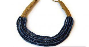 Blue choker, Beaded choker necklace, Blue necklace for women, Macrame jewelry, Multi strand necklace, Blue bead necklace, Chokers for women