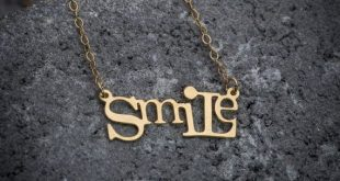 Script necklace, statement necklace, smile necklace, smile word necklace, goldfilled necklace, gift under 50, girl necklace, gift for her