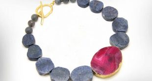 Statement Necklace for Women, Blue Coral and Big Agate Ruby Gemstone Necklace, Fashion Jewelry