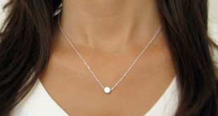 Tiny Silver Dot Necklace / Small Circle Necklace/ Simple Silver Necklace. $24.00...