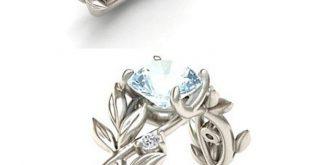 Vine Leaf Crystal Flower Vintage Ring