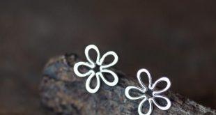 Dainty Sterling Silver Flower Stud Earrings, Simple Daisy