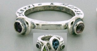 Mothers Rin - Two 4mm round stone ring - Stackable Name Rings - Stackable Birthstone Ring - Silver S
