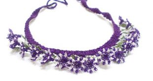 Needle Crochet Lace Necklace, Choker Lace Bib, Purple, Summer, Sport lace jewelry, 3D flower nature necklace