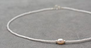 One white pearl, Silver 925 beads and white sead bead necklace - short necklace ...