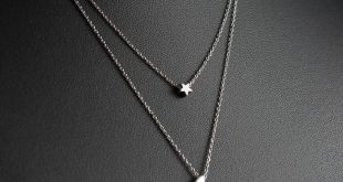 Silver Moon and Star Layered Necklace, Dainty Necklace, Delicate Fine Chain, Silver Crescent Moon and Star