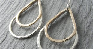Silver and Gold Earrings Teardrop Earrings Mixed Metal Dangle Earrings Minimalist Earrings Simple Earrings Everyday Earrings Gift For Her
