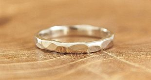 Sterling silver hammered ring Plain silver stacking band Minimalist jewelry