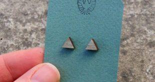 Triangle Gray Wood Stud Earrings, Hipster Mens Jewelry, Triangle Earrings, Geometric Earrings, Simple Earrings