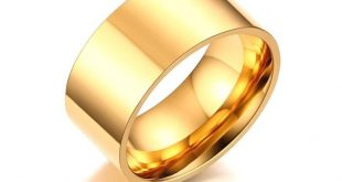 10mm Classic Wide Chunky Ring for Men Rose Gold-Color Silver Color Stainless Steel Male Ring Alliance Wedding Jewelry