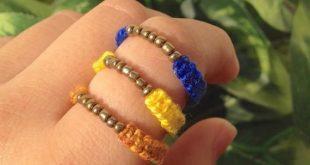 Gold bead hemp ring , macrame ring , stackable ring , bead jewelry , macrame jewelry , statement rin