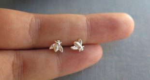 Bee stud earrings, tiny sterling studs, bee earrings, honey bee earrings, bumble bee earrings, bee jewelry, insect earrings, save the bees