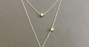 Crescent Moon and star necklace, Half Moon Necklace, Double Layer Necklace, love you to the moon and back, love you always and forever