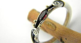 Garnet sterling silver organic ring band,14k gold and silver ring ,stackable ...