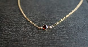 Gold Garnet Necklace - Personalized, Tiny, January, Birthstone, Gemstone, Jewelry, Birthday, Valentines Day, Christmas Gift for her