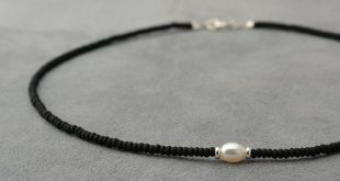 One white pearl, Silver 925 beads and black sead bead necklace - short necklace ...