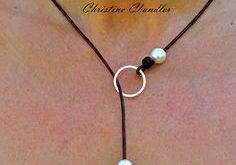 Perle und Leder Halskette Sterlingsilber Kreis Leder - Leder-Schmuck - option Multi Schmuck - Lasso - eine Perle - 3 Perle
