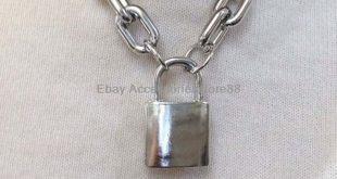 Punk Men Women Gothic Handmade Square Lock Locket Chain Necklace Choker Collar #...