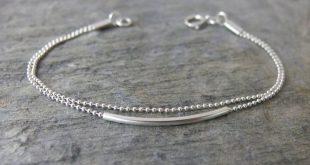 Simple silver bracelet Minimalist Beaded bracelet Delicate bracelet silver bar bracelets Double layered bracelet Dainty Minimalist jewelry