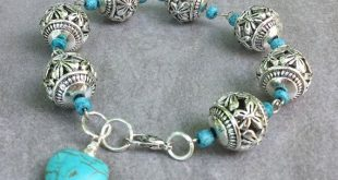 Turquoise heart charm bracelet-boho - pewter silver beads - Dainty Simple Everyday Style Jewelry