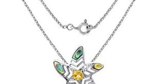Sterling Silver Pendant For Women | Multi Birthstone Pendant | 1.75 Carat Blue & Yellow Mother of Pearl & Citrine Engagement Pendant by Orchid Jewelry | Simple. Beautiful. Affordable