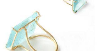Aquamarin Ring mit Goldeinfassung! Kerstin Tomancok Farb-,