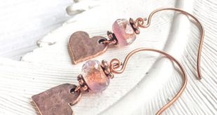 Copper Earrings, Dangle Earrings, Lightweight earrings, Heart Earrings, Love Jewelry, Simple earrings, boho earrings, everyday earrings