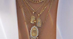 Geschichtete Gold-Anhänger-Halskette mit Kreuz und Symbolketten Mode-Street-Style-Schmuck