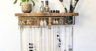 Jewelry Organizer With Shelf, Necklace Holder, Bracelet/Earring Bar and Mason Jar