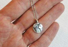 Silver Globe Necklace, small world map necklace, world necklace, earth charm, travel jewelry, tiny globe pendant, dainty globe charm