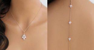 Simple Rose gold Bridal Backdrop necklace Bride