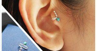 Turquoise Tragus Earring, Tragus Jewelry, ear cuff, single earring, fake ear cuff, Silver tragus clip,non pierced earrings,clip on earrings