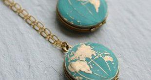World Map Locket, Personalised Globe Necklace, Planet Earth Necklace, Personalized Necklace, Turquoise Locket, Traveller, Travel Necklace