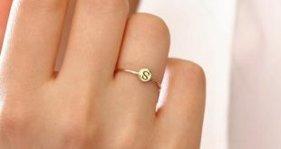 14k Gold Initial Ring / Tiny Letter Ring / Stackable Initial Ring / Dainty Initial Ring/ Tiny Initial Ring