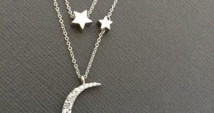 925 Silber Mond und Stern Double Layer-Halskette, Vollmond und Halbmond Halskette, Stern, Schichtung Halskette, Multi-Strang-Kette