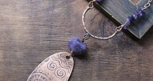 Amethyst Etched Copper Reversible Pendant, Large Oval Spiral Boho Rustic Necklace Statement Ethnic T