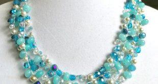 Aquamarine blue bead necklace for women/Boho bead necklace/ Crochet blue necklace jewelry/ handmade crochet multi strand jewelry nec