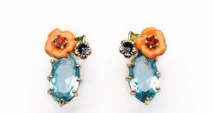 Blue Clara Flower Earrings