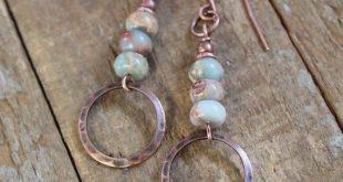 Bohemian Earrings, Copper Earrings, Copper Jewelry, Natural Stone Jewelry, Copper Dangle Earrings