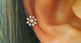 CZ Snowflake cartilage earring, simple cz barbell, mini snowflake stud, small tragus earring, conch stud, tiny snowflake cartilage earring