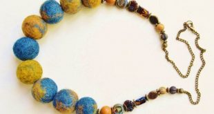 Felted bead necklace, Felted jewelry necklace, Pompom blue necklace, Multicolored necklace