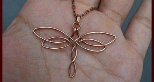 Fil de cuivre enroulé pendentif libellule, collier celtique fait main, bijoux celtiques