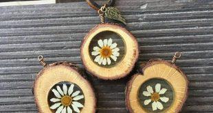 Gänseblümchen-Halskette, Terrarium Halskette, botanische Halskette, echte Blum...