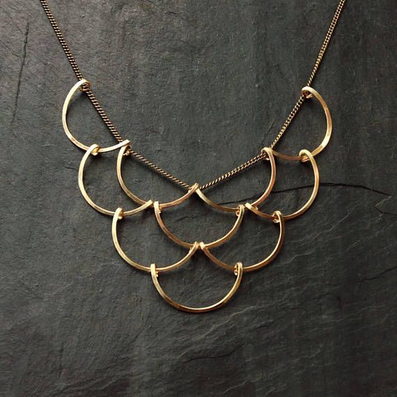 Gold Geometric, Scales Necklace, L.Greenwalt Jewelry, Loop Jewelry, crescent, circles, deco, architectural jewelry, sterling silver, gold