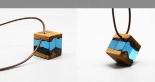 Holz harz halskette handgefertigte einzigartige schmuck für frauen männer #ei... - jewelryimages