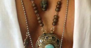Lange böhmische vergoldete Türkis-Halskette - Gold 1