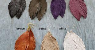 Leather Feather Earrings, Handmade Earrings, Genuine Leather Earrings, Feather Earrings, Lightweight Earrings, Simple Earrings, Boho Jewelry